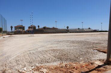 Sopralluogo al cantiere del campo di rugby degli assessori Spata e Giuffrida