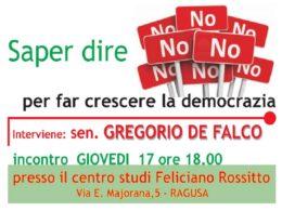 Il Comitato Provinciale per il NO al referendum ospita il senatore De Falco