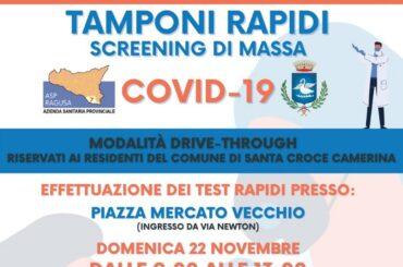 Contrasto e contenimento dell'epidemia: domenica prossima, tamponi gratuiti a Santa Croce Camerina, per i residenti
