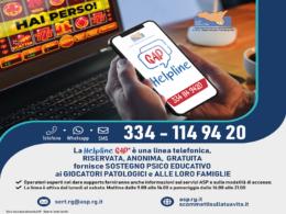 """""""HelpLine GAP"""",  una linea telefonica gratuita a sostegno psico-educativo dei giocatori patologici"""